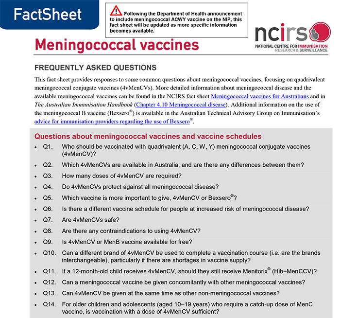 Meningococcal Vaccines Frequently Asked Questions